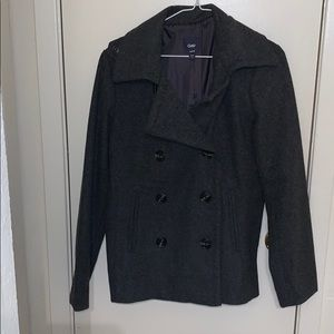 Charcoal pea coat from Gap